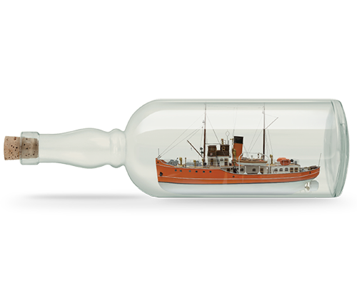 UK Pension transfer Boat in Bottle